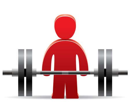 vector symbol of bodybuilder and weight Vector