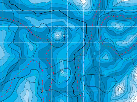 topographic map: vector design of abstract blue map with no names