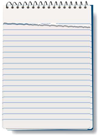 ilustración vectorial de bloc de notas con la hoja rota