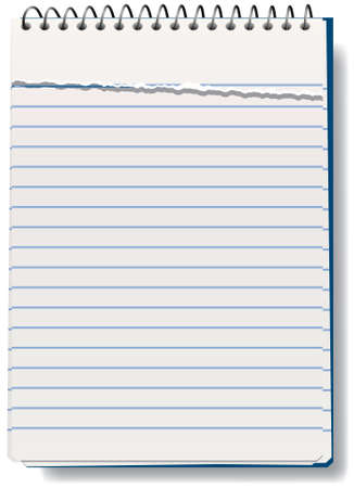 lined: vector illustration of notepad with torn sheet Illustration