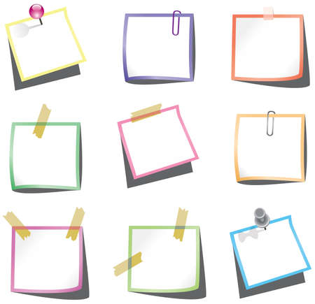 vector design of paper notes with push pin and paperclip Stock Vector - 10562254