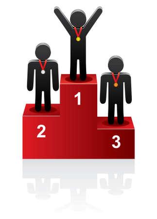 Vektor-Sieger auf dem Podium Vektorgrafik