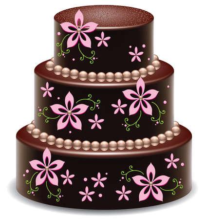conception de vecteur d'un délicieux gâteau au chocolat grand Vecteurs