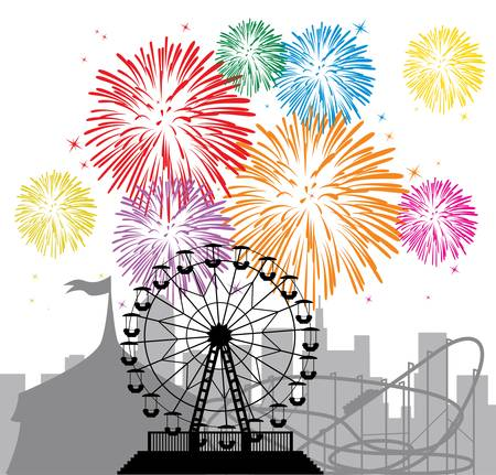 parker: vector fireworks and silhouettes of a city and amusement park with circus, ferris wheel and roller-coaster