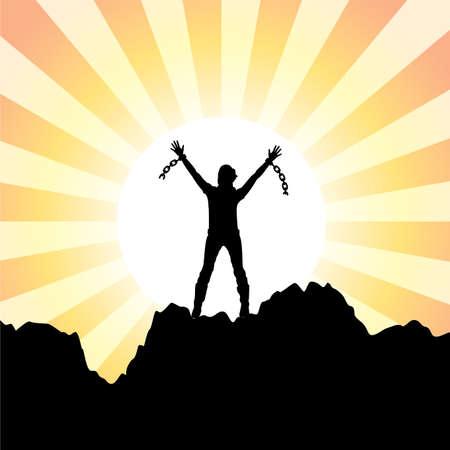 ceppi: vector silhouette di una ragazza con le mani alzate e catene spezzate