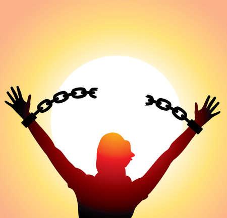 cadena rota: vector silueta de una chica con las manos levantadas y rotas cadenas