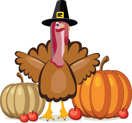 vector design of turkey, pumpkins and apples for thanksgiving day Vector