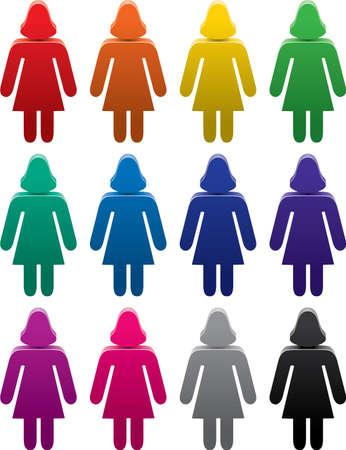 vector set of colorful female symbols Vector