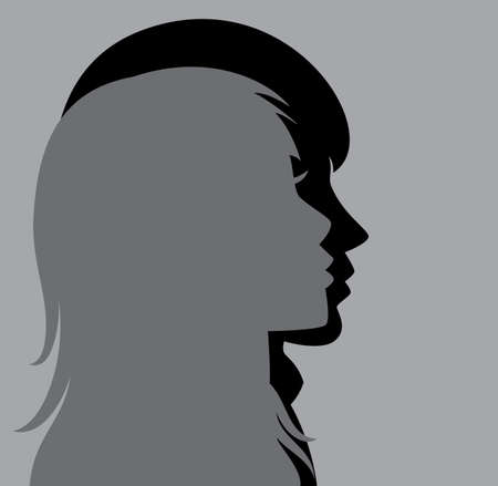 woman face profile: vector silhouette of young man and woman