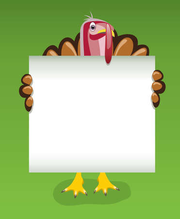 vector thanksgiving day design of turkey holding blank sheet of paper Stock Vector - 10768679