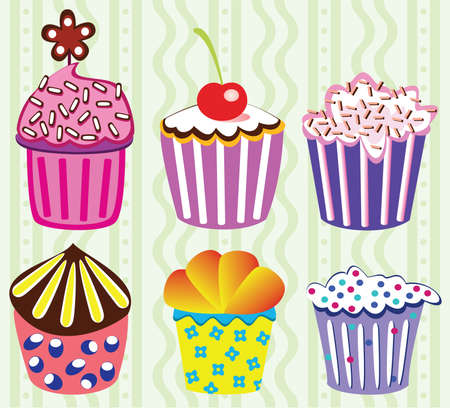 various vector cupcakes set illustration Vector