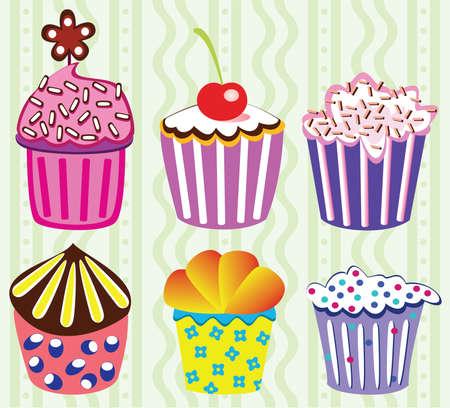 various vector cupcakes set illustration Vector