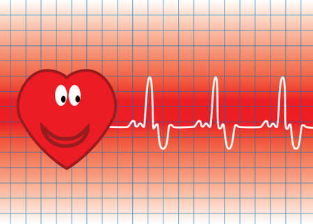 illustration of vector heart and heartbeat Vector