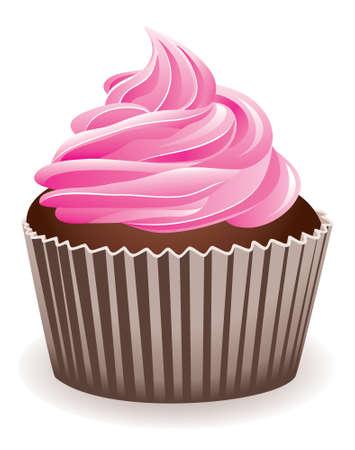 ilustracion: ilustraci�n vectorial de un pastelito de color rosa