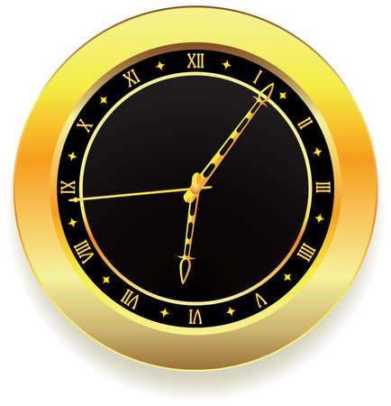 vector golden clock with roman numbers Vector