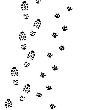 huellas de pies: Vector pie impresiones del hombre y el perro Vectores