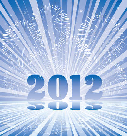 vector new year 2012 numbers with fireworks and rays of light Stock Vector - 10825778