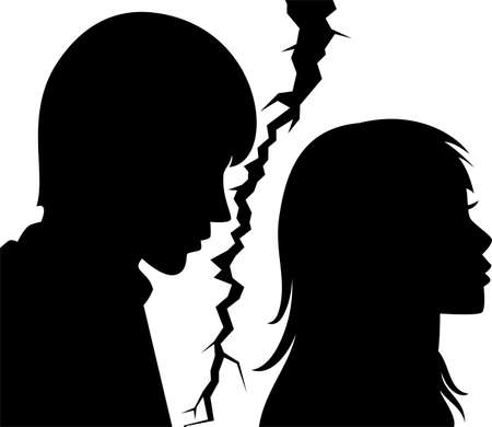 grief: vector silhouette of broken relationship between young man and woman