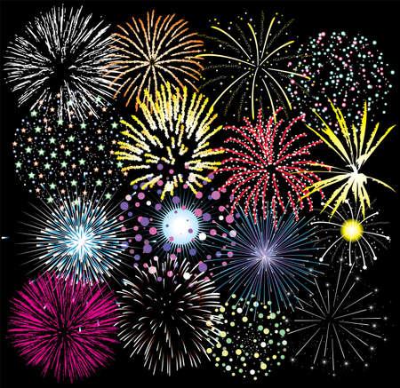 fuegos artificiales: vector conjunto de coloridos fuegos artificiales