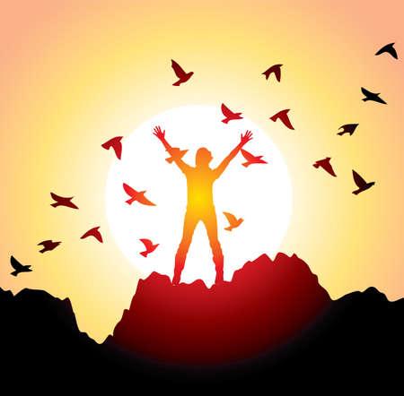 クライマー: 上げられた手と飛んでいる鳥を持つ少女のベクトル シルエット