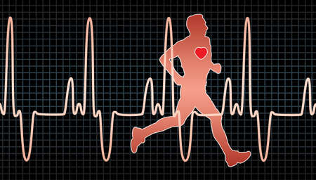 electrocardiogram: vector heartbeat electrocardiogram and running man