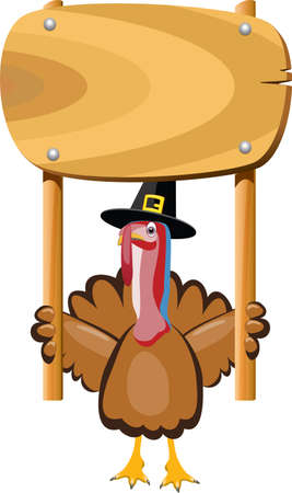 vector turkey for thanksgiving day holding wooden signboard Vector