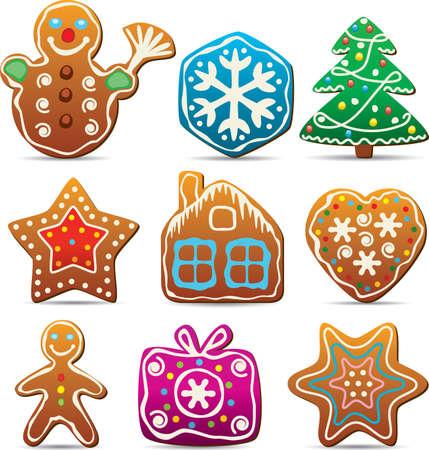 casita de dulces: conjunto de vectores de nueve galletas de jengibre Vectores