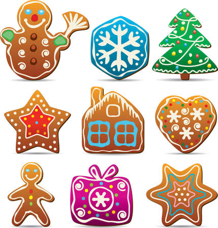 gingerbread: vector set of nine gingerbread cookies