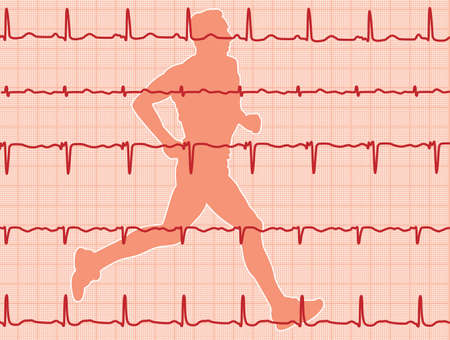 vector heartbeat electrocardiogram and running man Stock Vector - 10898863