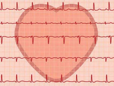 vector heart and heartbeat electrocardiogram Stock Vector - 10898862