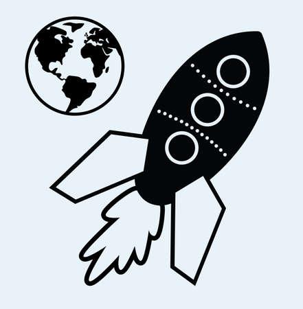 vector stylized retro rocket ship and planet earth symbols Vector