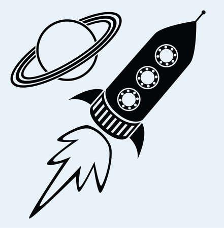 vector estilizada nave del cohete retro y el planeta Saturno, símbolos