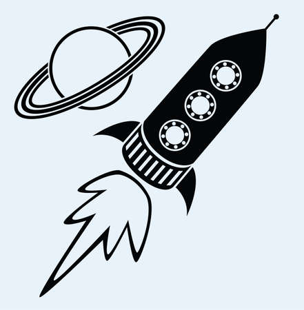 and saturn: vector stylized retro rocket ship and planet saturn symbols