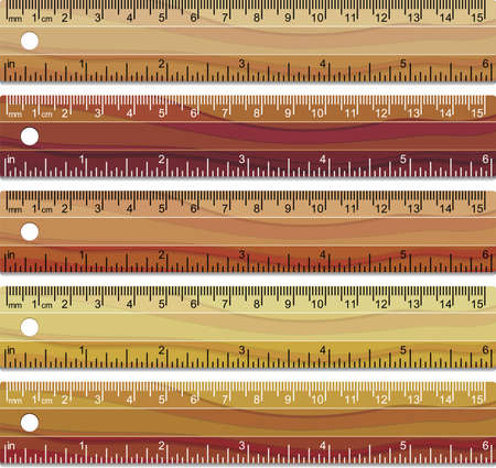 vector set of wooden rulers Vector