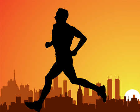 with orange and white body: vector silhouette of a city and a running man