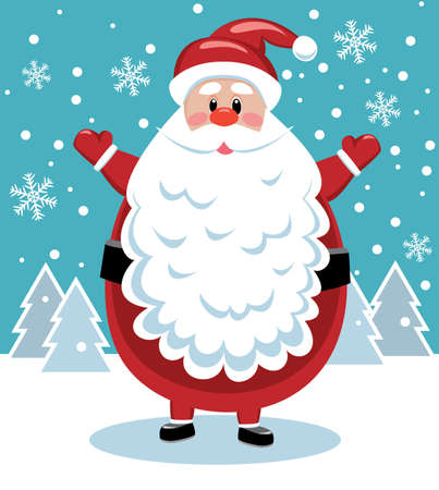 vector xmas illustration of santa with big beard Vector