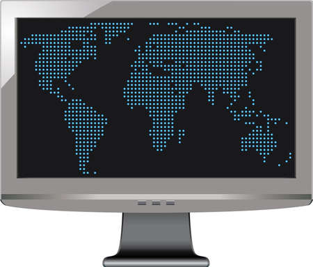 vector gray tv monitor with world map Stock Vector - 10898859