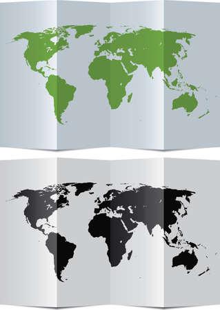 papier pli�: carte vectorielle monde abstrait sur le papier pli�