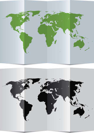 vector abstract world map on folded paper Vector