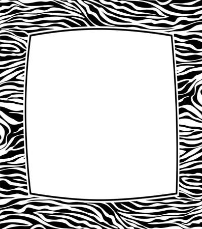 zebra stripes: vector frame with abstract skin texture and copy-space
