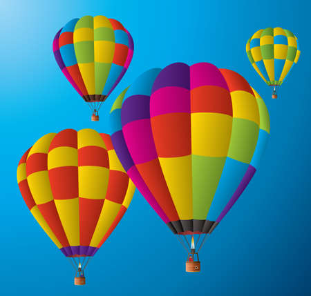 man in air: vector hot air balloons in the sky