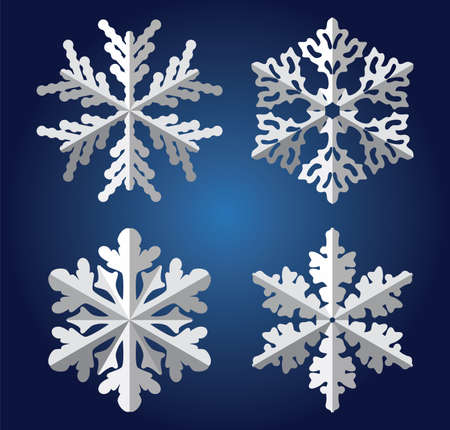 christmas snow: vector origami snowflakes Illustration