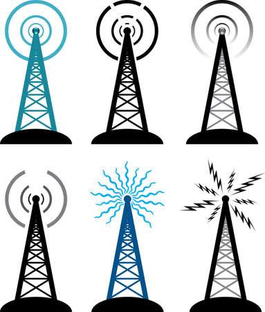broadcasting: dise�o del vector de la radio s�mbolos torre Vectores