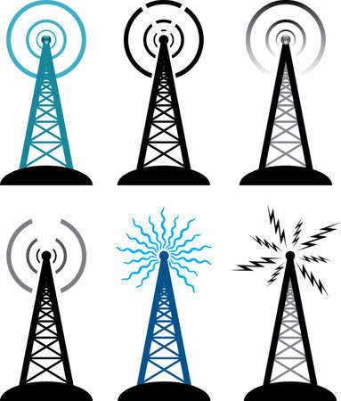 internet radio: vector design of radio tower symbols