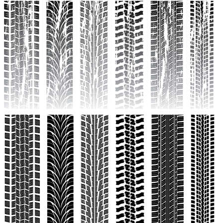 tyre tread: vector set of detailed tire prints Illustration
