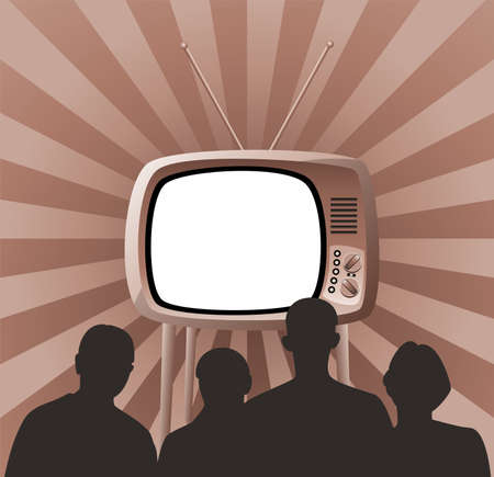 television screen: Illustration of family watching retro tv set Illustration