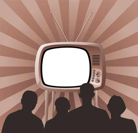 ver tv: Ilustración de familia viendo retro tv establecer