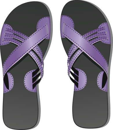 Pair of leather flip flops Stock Vector - 11011531