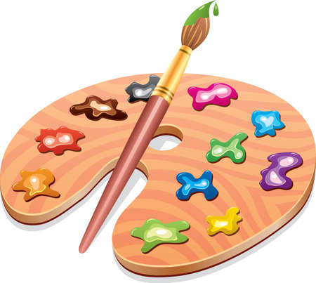 painter palette: Wooden art palette with blobs of paint and a brush Illustration