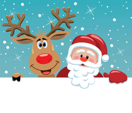 cartoon reindeer: Christmas illustration of santa claus and rudolph deer